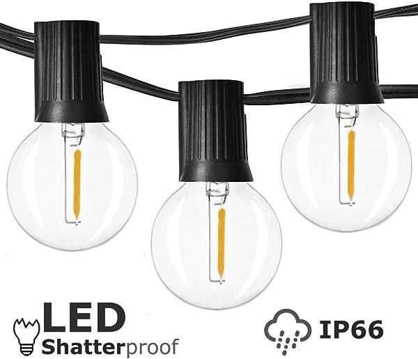 Newpow 户外灯串 2500 与 25 可调光防碎防水 LED G40 灯泡透明塑料 1W 60LM K 温暖辉光室内室外装饰和照明黑色