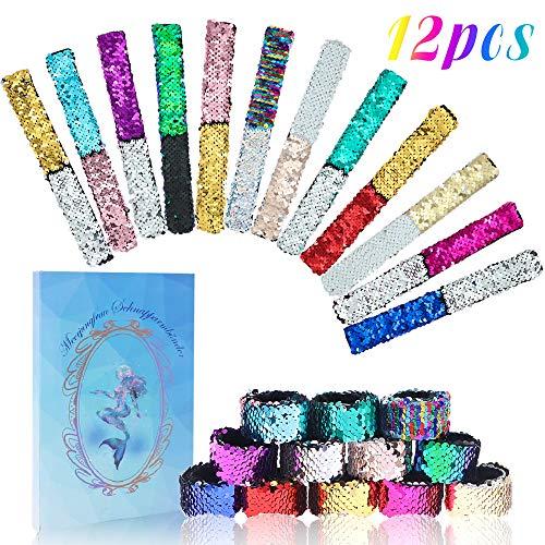 BAKHK 12 Stücke Meerjungfrau Schnapparmbänder für Kinder, 2-Color Reversible Glitter Pailletten Slap Armbänder für Geburtstagsgeschenk Party Deko