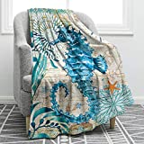 Jekeno Sea Horse Blanket Smooth Soft Ocean Style Print Throw Blanket for Sofa Chair Bed Office Gift 50'x60'