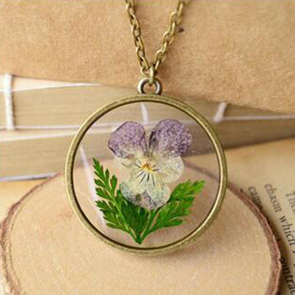 AIDEMEI unisex New product! New type 1Pc Handmade Dried Flower Le Real Locket Necklace