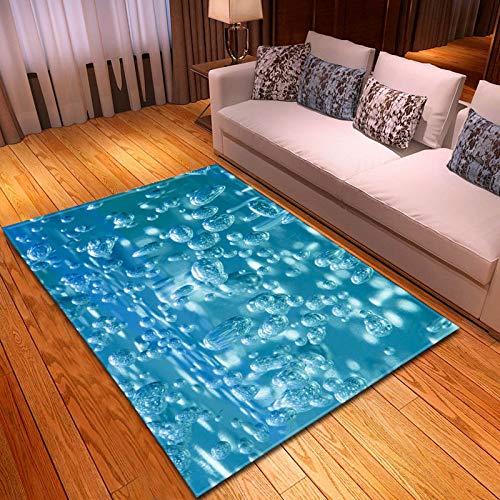 Alfombra,Suave Terciopelo Área Rugs Azul Agua Drip Impreso Gran Antideslizante Interior Tirar Alfombras Creativas Patrón Alfombra De Piso para Dormitorio Sala De Estar Vivero Decoración,