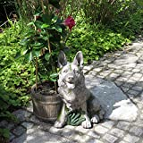 Unibest Deko Hund Schäferhund Stein-Optik Gartenfigur Skulptur aus Magnesium-Oxid