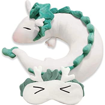 Amazon Com Evalent Anime Cute White Dragon Doll Plush Toy Japanese Animation Pillow Neck U Shape White Home Kitchen