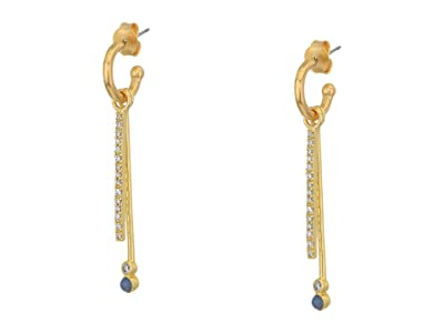 SOLE / SOCIETY Double Stick Huggie Earrings (12K Soft Polish Gold/Crystal/Blue Lace Agate) Earring