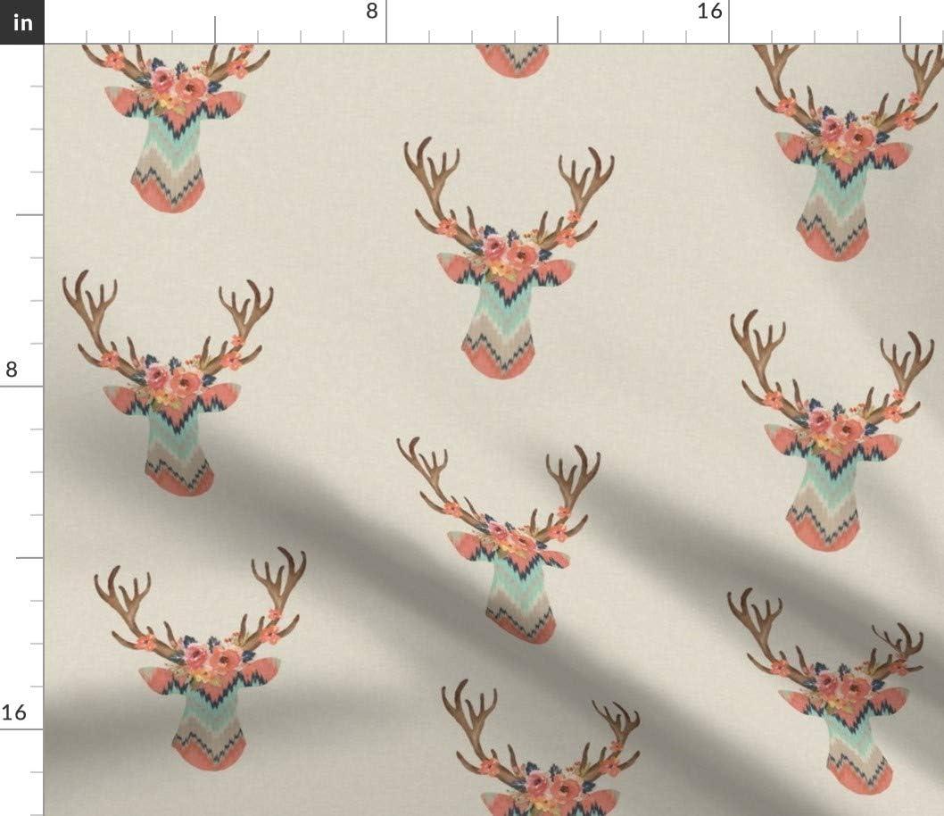 Spoonflower 新色 Fabric - SALE Fancy Deer Ikat Chevron Nu Modern Baby Girl