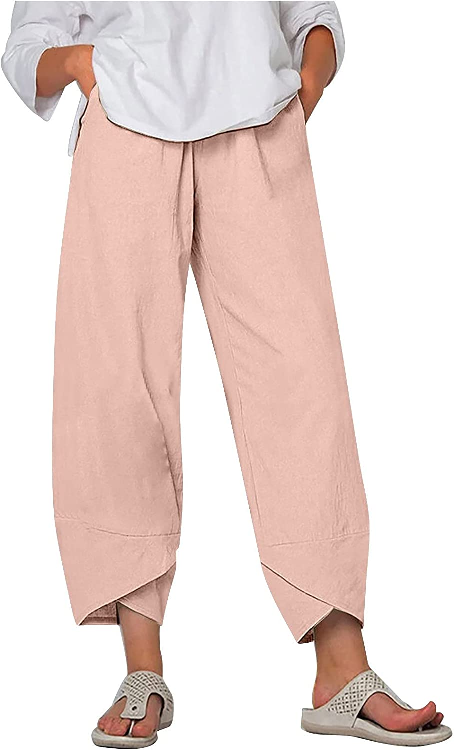 Womens Linen Cotton Pants,Summer Casual Pure Lounge Trousers Trendy High Waist Comfy Wide Leg Cropped Straight Pants