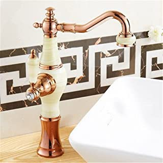 WJSW Faucet Basin Tap Waterfall Faucet Bathroom The Jewel of The Whole Copper Kitchen Faucet Basin Faucet Basin high on The hot and Cold Water Mixing Valve can be rotated 360° Golden taps B