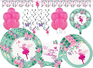 Floral Fairy Sparkle Girls Birthday Party Supplies Tableware Kit and Decorations for 24 Guests
