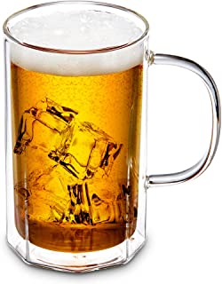 ZENS Glass Beer Mug with Handles,Octagon Double Wall Glasses Beer Stein Mugs,18oz Large Craft Beer Glass for Freezer for Iced Tea, Mojito