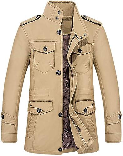 Qiusa Veste en Coton à Manches Longues pour Hommes, Coupe ajustée, Manteau de Blazer (Couleuré   Style 2-Khaki, Taille   3XL)