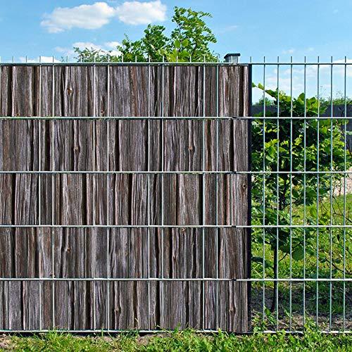 Bedruckter Sichtschutzstreifen für Doppelstabmatten Zaun auf Rolle inkl. 25 Klemmschienen (Holzbohle)