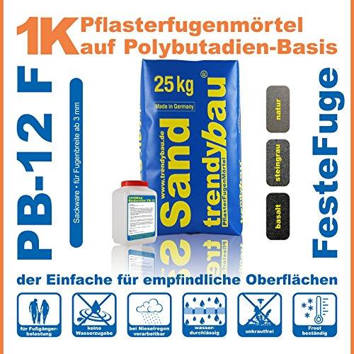 trendybau 1K Pflasterfugenmörtel, feste Fuge, unkrautfreie Fugen, wasserdurchlässig - 26,2 kg Sackware - Farbe basalt