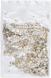 Solustre 1440pcs Nail Art Rhinestones Assorted Flatback Gems Stones AB Nail Crystals for DIY Craft Nails Art Makeup Clothes Shoes (Champagne)