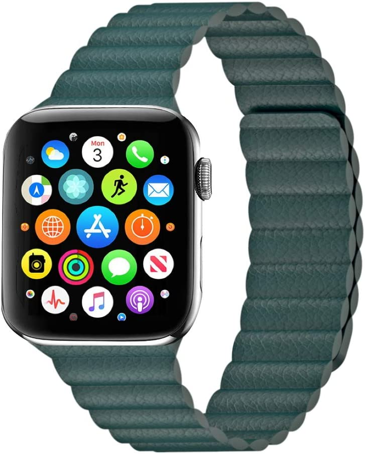 Teal Magnetic Leather Band for Apple Watch - 38/40mm Wrists Fits for 6.5 - 8.6 Inch (165mm - 220mm) Compatible With Series SE, 6, 5, 4, 3, 2, 1