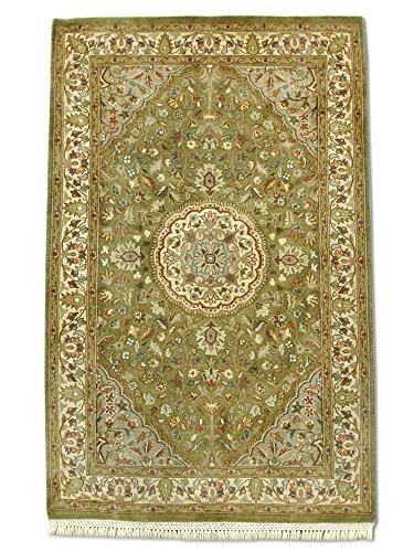 Pak Persian Rugs Handgeknüpfter Kashan Teppich, Oliven-Grau, Wolle, Small, 81 X 128 cm