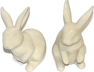 Kaheku Conejo de qstall Muro craquele Crema H: 13cm Juego de 2, Pascua, cerámica, Conejo, craquelierte cerámica, Antiguo–Blanco