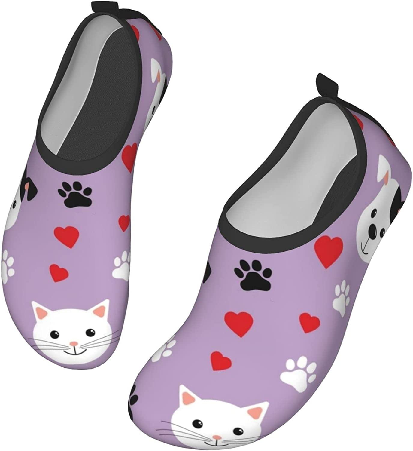 Cute Cats and Dogs Water Shoes Quick Dry Swim Aqua Barefoot Socks for Women Mens Sports Walking Yoga Water Shoes