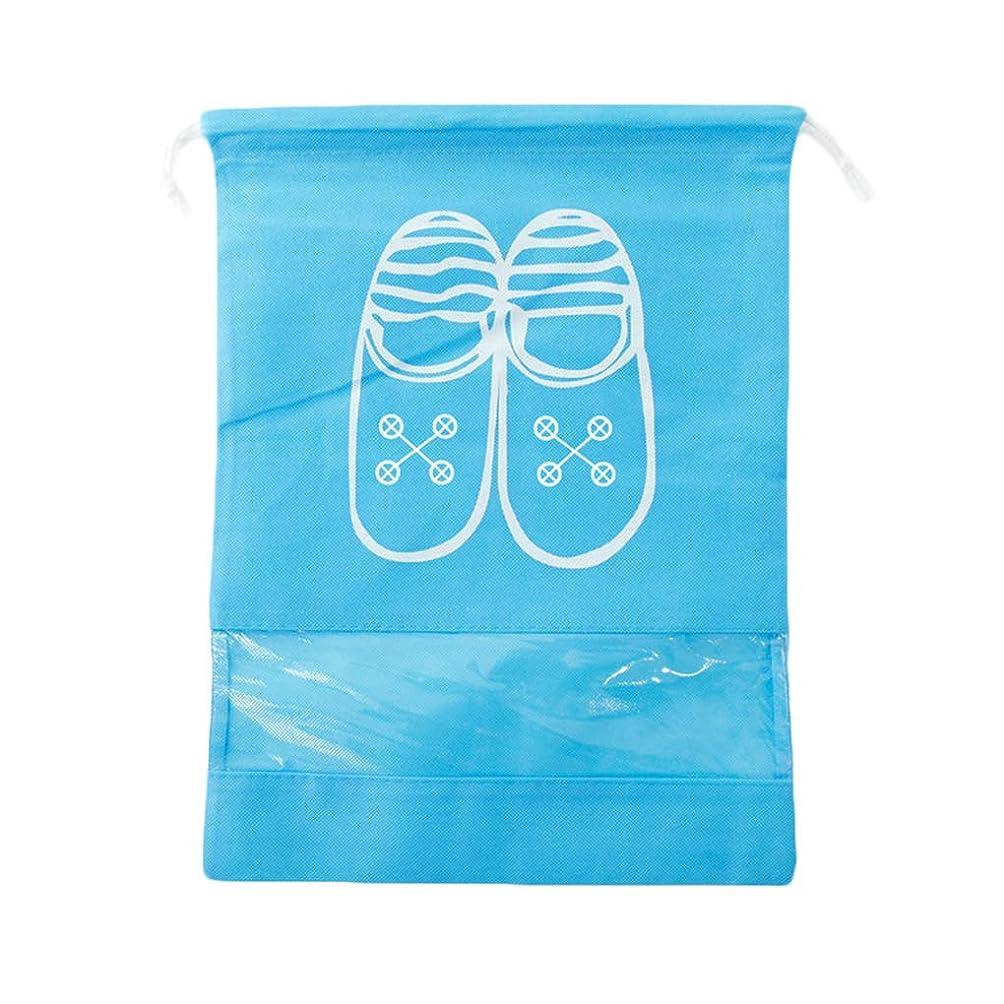 として技術者用心深いNerhaily シューズバッグ 収納袋 靴 巾着袋 旅行出張用 収納バッグ 防水 防塵 室内片付け トラベル用 シューズケース マルチ袋 可 2サイズ選択可 (M, 水色)