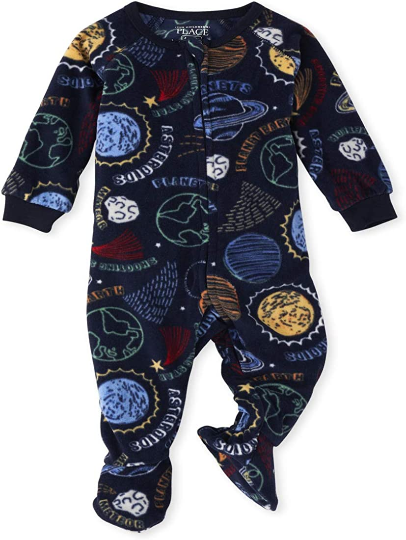 The Children's Place Boys' Baby and Toddler Space Fleece One Piece Pajamas
