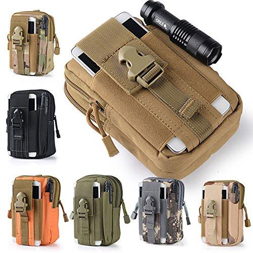 51ZMT - Sacoche ceinture pratique molle avec poches - Emplacement téléphone - Avec fermeture Éclair - Pour randonnée, camping, cyclisme, Noir