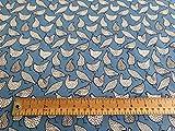 Oddies Baumwoll-Popeline-Stoff, Motiv Hühner auf blauem