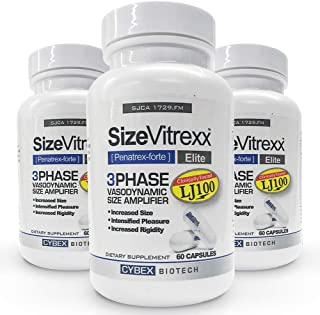 SizeVitrexx - 3-Phase VasoDynamic Size Amplifier. Performance, Testosterone Pill of Pros. 2 Patented Compounds. MI.T. Researchers. Improve Your Male Performance. 3 Month Supply-180 Super Elite Capsule