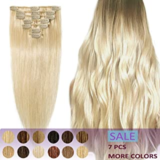Human Hair Clip in Extensions Thin Remy 15 18 20 22 Inch 7pcs Clips on Remi Hair Extensions Strong Machine Weft 65g-75g Silky Straight for Women Fashion Beauty (20