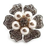 Diseño de margaritas agrandada con brillantes de perlas de imitación anillo (tono plateado metal) - 4,5 cm de diámetro