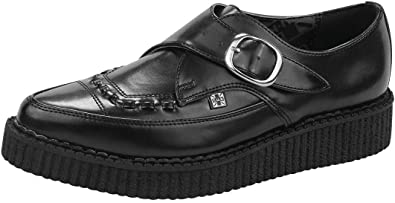 T.U.K. Shoes Unisex Leather Monk Buckle Pointed Creepers