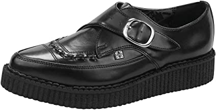 T.U.K. Shoes A8520 Unisex Black Leather Pointed Toe Buckle Creepers