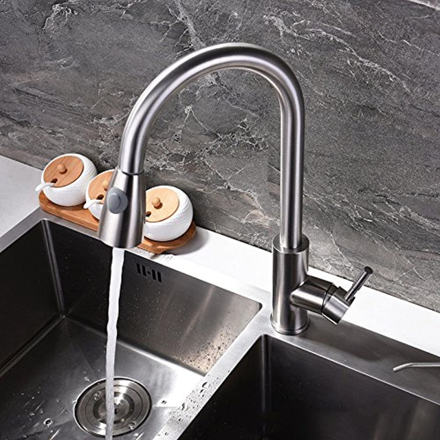 Commercial Single Lever Pull Down Kitchen Sink Faucet Brass Constructed Polished Pulling The Basin Faucet_Stainless Steel 304 Hot and Cold Pulling Dish Sink Faucet Kitchen Multi-Function Faucet