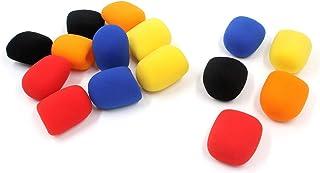 Karcy Foam Microphone Covers Red Blue Yellow Orange Black 35mm / 1.4 In ID Lapel Headset Microphone Windscreen Set of 15