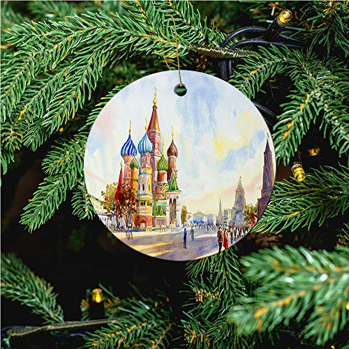 aosup Kremlin and Cathedral/Christmas Ornaments 2020 Christmas Ceramic Pendant Personalized Creative Christmas Decorations Double Sided Christmas Tree Ornament №SW174505