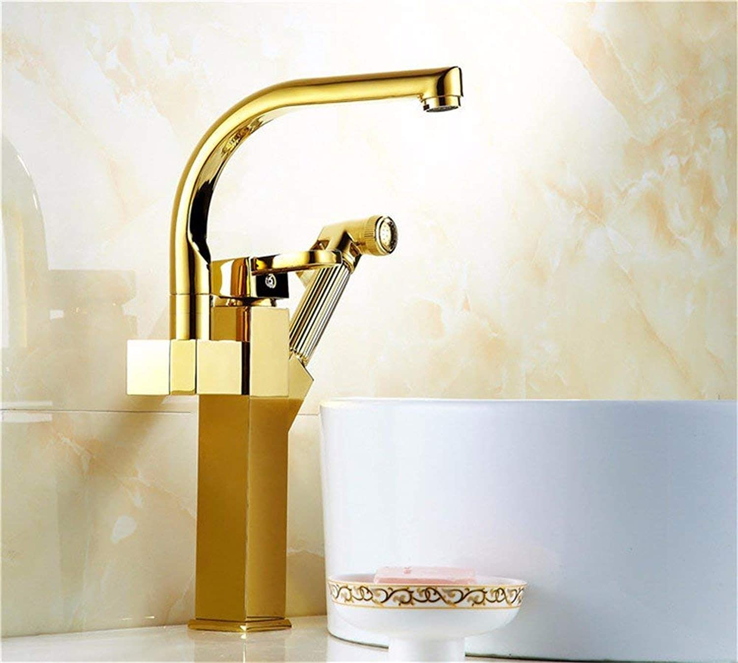 Modern copper gold pull basin bathroom hot and cold water faucet redatable washable head (color   -, Size   -)