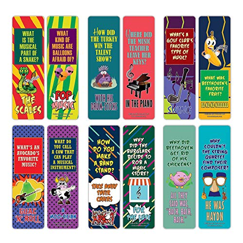 Creanoso Funny Music Jokes Puns Bookmarks (12-Pack) – Unique Stocking Stuffers Gifts for Boys & Girls, Unisex Adults – Cool Book Page Clippers Collection Set for Musicians – Awesome Giveaways