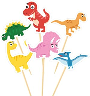 TUPARKA 60Pcs Dinosaur Cupcake Toppers Picks Cute Baby Dinosaur Cake Toppers for Dinosaur Party Decoration Supplies