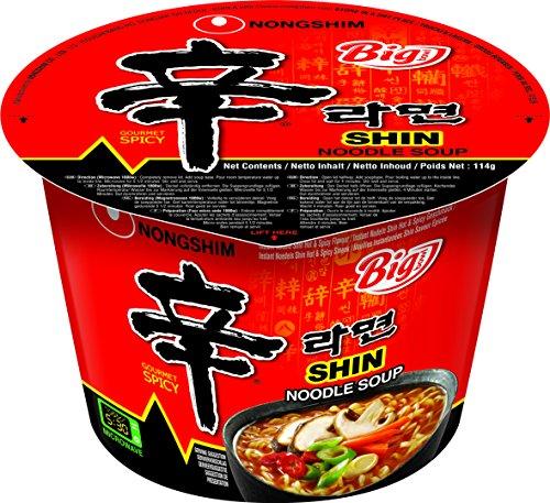 Nong Shim Instantnudeln Shin Ramyun Big Bowl – Koreanische Ramen Suppe scharf - schnelle Zubereitung – 16er Vorteilspack à 114g