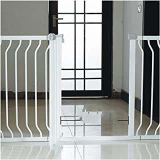 Foldable Extra Wide Fence With Walk Through Opens The Door Both Directions Isolation Barrier Double Lock For Staircase Fireplace Baby Pet Safety Gates Color High78 width Size 195-202cm