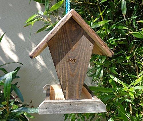 Vogelfutterstation-BEL-X-VOFU1K-at002 PREMIUM Vogelhaus Vogelfutterhaus schwarz anthrazit Schwarzlasur dunkelgrau Holz, als Ergänzung zum Meisen Nistkasten Meisenkasten oder zum Insektenhotel, Futterstelle Futterstation für Vögel, Vogelhäuschen / Vogelvilla zum Hängen und Aufstellen von BEL - 3