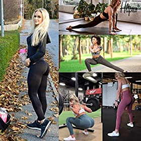 HLTPRO High Waist Yoga Pants with Pockets for Women – Tummy Control Soft Workout Leggings for Exercise, Fitness