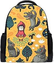 Naanle Caperucita Roja Lobo Patrón Lobo Floral Árbol Mochila Bolso Escolar Viaje Senderismo Camping Mochila para niños Adolescentes Niñas Niños