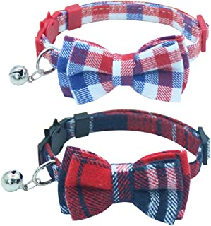 OFPUPPY Cute Bowtie Cat Collar Breakaway with Bell 2 Pack Plaid Collar Set for Kitty Puppy Adjustable 7.8-10.2