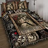 WINBACK to My Love. You and Me We Got This Skull Couple Quilt Bed Set Bedding Set 3 Pieces Quilt Cover with Pillowcase Cover Soft Comfortable for Kids Parents US Twin Queen King Size