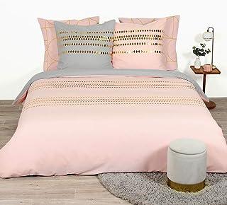 CÔTE DECO Set Housse de Couette 220x240 cm + 2 Taies d'oreiller 63x63cm Parure de lit pour 2 personnes imprimé géométrique...
