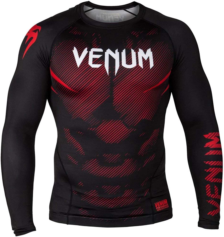 Venum MMA NO GI Long Sleeve Rash Guard  Black Red