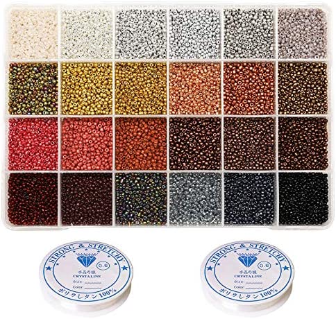 VOOMOLOVE 12 0 Glass Seed Beads About 15600pcs 24 Colors 2mm Loose Seed Beads Kit Bracelet Making product image