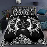 Erosebridal Mandala Duvet Cover Full Sun and Moon Decor Comforter Cover Set with Zipper Ties Boho Exotic Style Black and White Bedding Set Botanical Floral Decor Duvet Cover for Adult Women Teen Men