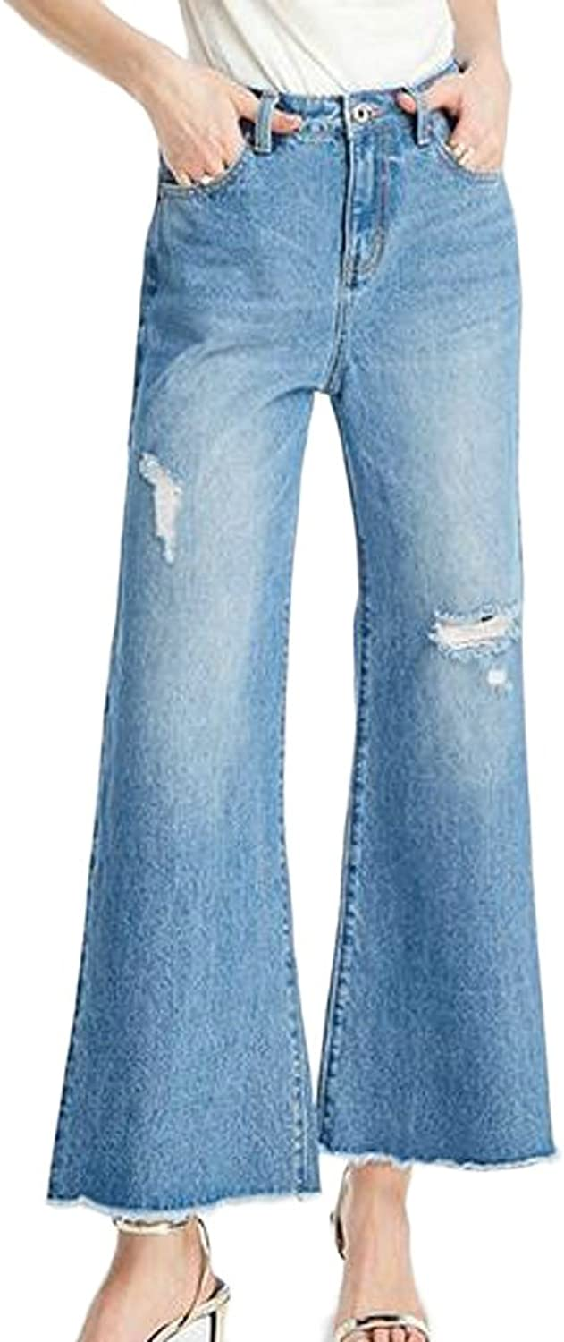 Etecredpow Womens Vogue Ripped Holes Faded High Waist Wide Leg Flared Jeans