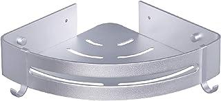 JubangB コーナーラック ラック 三角 シャワーラック 壁掛けラック 浴室用ラック ホック付き 粘着式 アルミニウム合金ラック ドリル不要 錆びない 浴室 キッチン 台所 1個