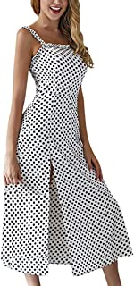 Sexy Dresses for Women,Women Boho Sleeveless Camisole Dot Print Long Dress Ladies Summer Sundress Dress